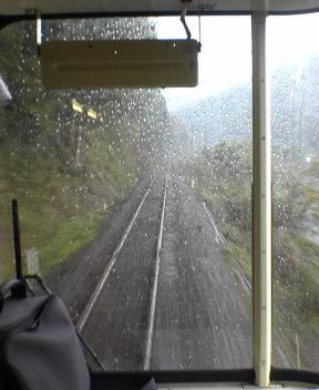 The rain on the train falls...